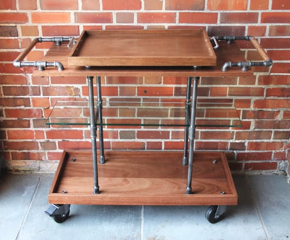 industrial loft furniture bar cart