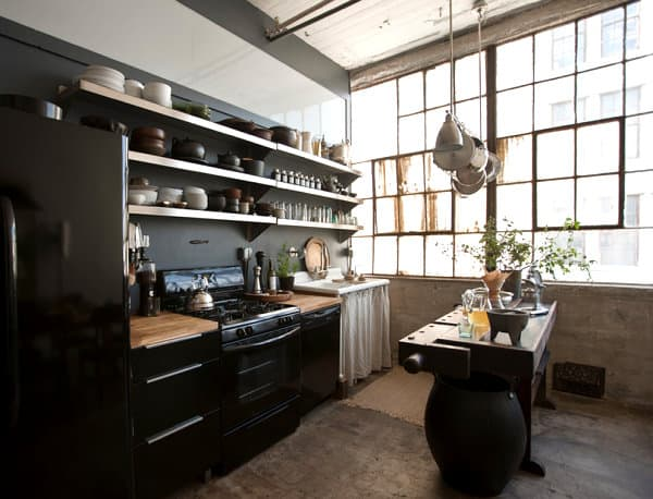 Loft-kitchen-with-open-shelving